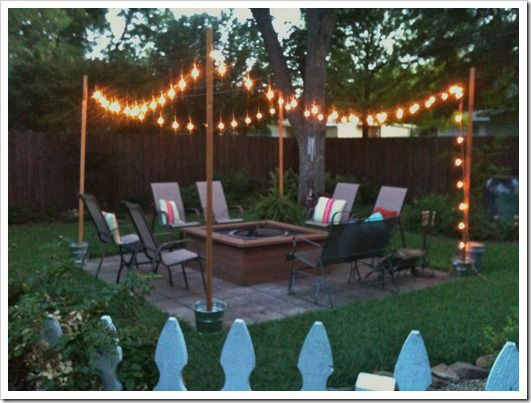 Diy outdoor patio string lights landscape lighting guru for How to hang string lights on trees